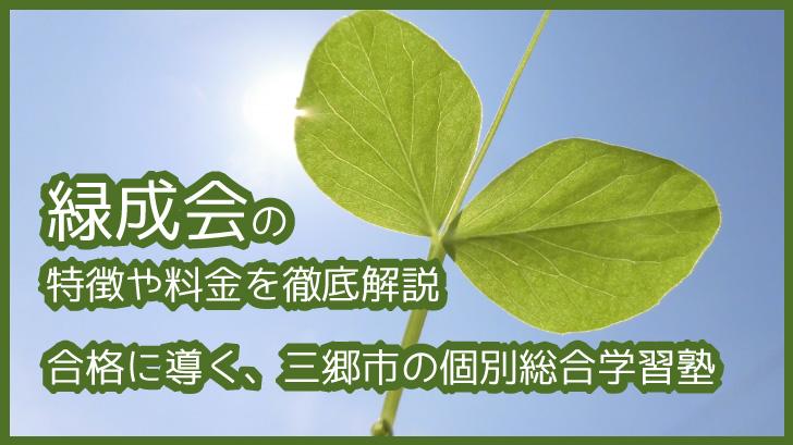 緑成会の特徴や料金を徹底解説 合格に導く、三郷市の個別総合学習塾